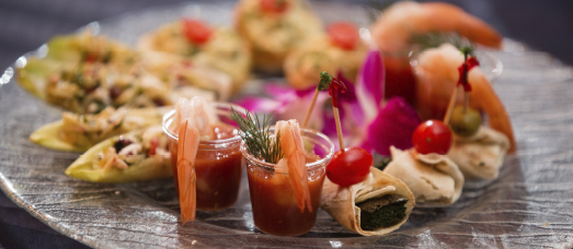 A plate of appetizers prepared by The The National's catering team.
