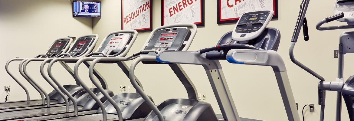 Treadmills in The National's 24-hour fitness center