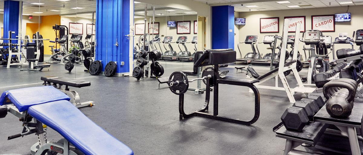 The free weights section of The National's 24-hour fitness center