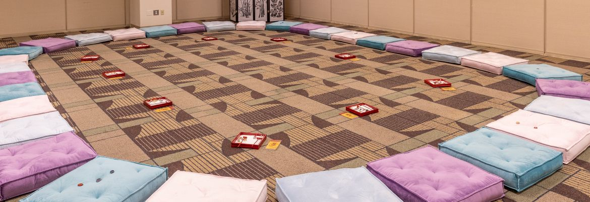 The Zen Room, a creative meeting room, features cushions to sit on and mini zen gardens