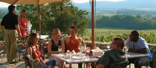 A group sits on the patio of a winery overlooking a beautiful green landscape