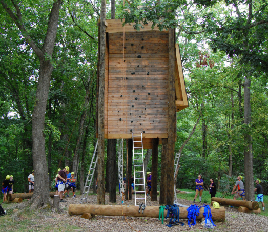 A rock climbing element of The National Conference Center's outdoor challenge course