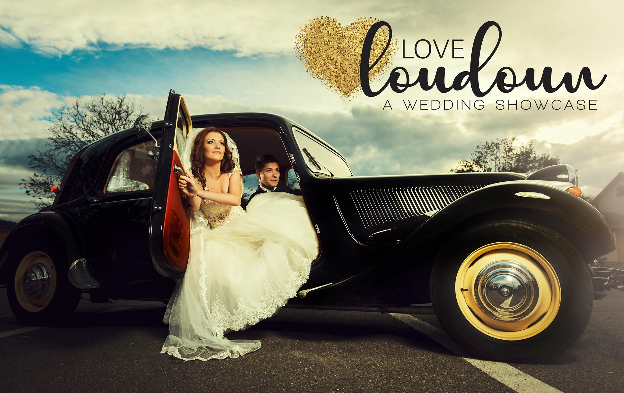 A bride and groom sit in an old-fashioned car. The Love Loudoun logo is in the upper righthand corner.