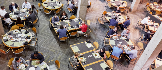 An overhead view of The National's dining room, where guests enjoy delicious meals