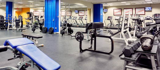 Weightlifting equipment in The National Conference Center's 24-hour fitness center