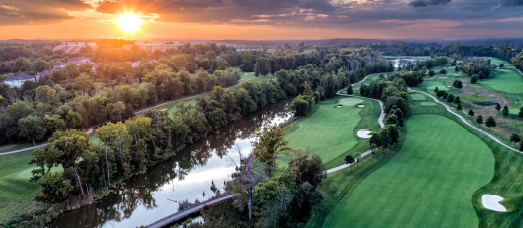 An aerial view of the Potomac and Lansdowne's golf course, both located near West Belmont Place