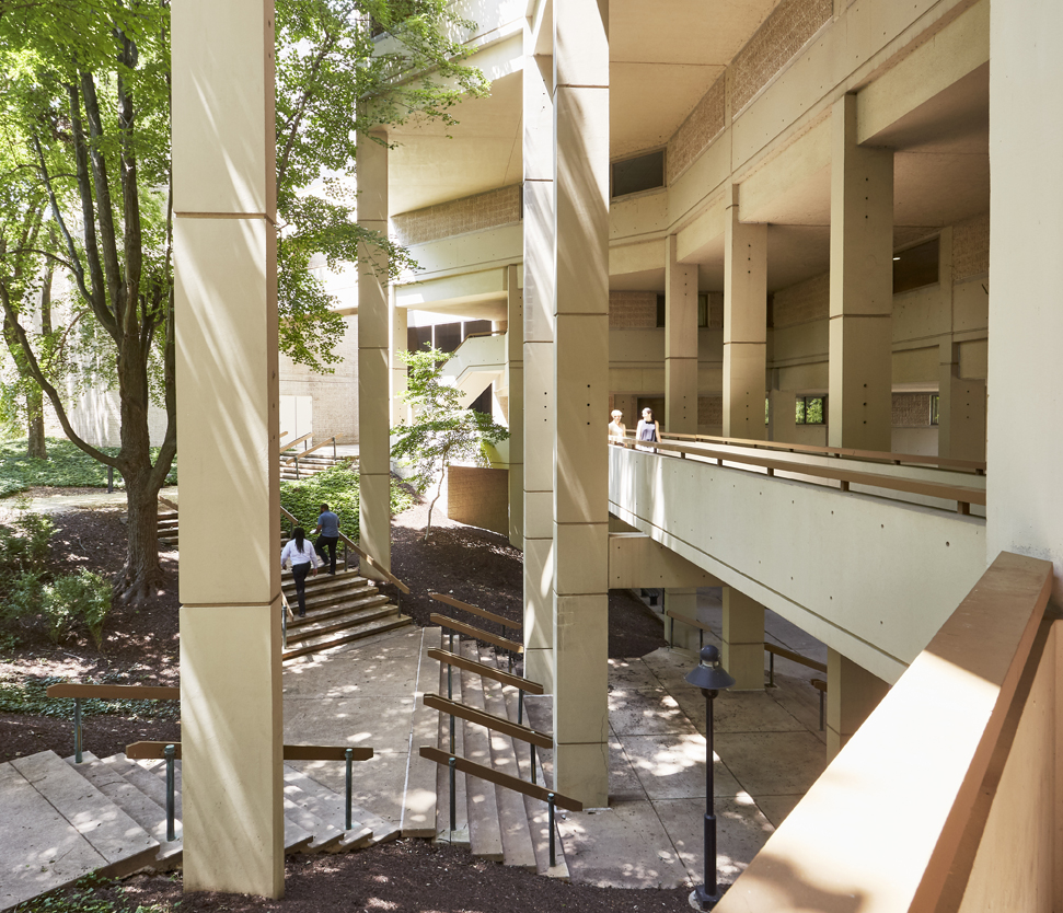 Concrete stairs in The National Conference Center's courtyard
