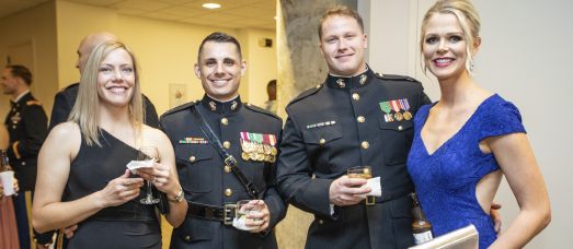 Two young couples pose at a military ball held at West Belmont Place in Leesburg, Virginia