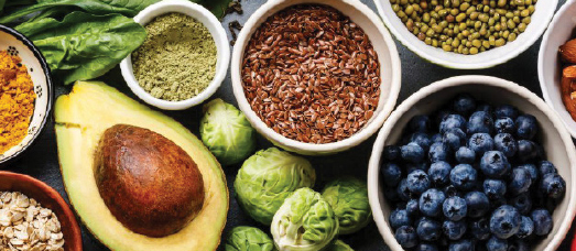 Some of the ingredients used in The National's kitchen, including avocado's, blueberries and brussels sprouts